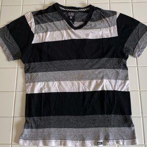 Point Zero Black White Striped T-Shirt